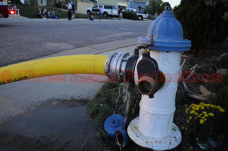 A 5 inch water supply line, brought to Ladder Truck 1331, on a basement fire in Cimarron Hills, Colorado.