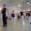 New York City Ballet Principal Dancer Robert Fairchild leads a group of students through positions Monday afternoon.   (Bobowick photo)