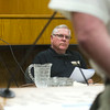 SAM HOUSEHOLDER   THE GOSHEN NEWS<br /> Goshen mayor Allan Kauffman listens to a department head speak at the Goshen City Council summit Tuesday at the Goshen Police and Courts Building.