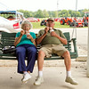 SAM HOUSEHOLDER | THE GOSHEN NEWS<br /> Joan Gilmer and her husband Paul enjoy ice cream at the LaGrange County Fair Monday. The couple said they have been coming to the fair for around 50 years.