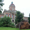 MICHAEL WANBAUGH | THE GOSHEN NEWS<br /> A large maple tree on the lawn of the Elkhart County Courthouse was toppled by Tuesday morning's storm.