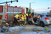 January 3, 2015, around 3:40 P.M., Falcon and Cimarron Hills Firefighters extricate one trapped patient involved in a two car crash at Constitution Avenue and Marksheffel Road in El Paso County, Colorado.