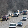 At about 9:15 am on Wednesday, April 9, volunteer firefighters responded to westbound Interstate 84, about 2,000 feet east of the Tunnel Road overpass, to extinguish some smoldering lumber that had caught fire while in transit on a flatbed tractor-trailer truck. There were no injuries. (Gorosko photo)