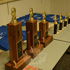 A row of trophies and some colorful T-shirts were among the prizes awarded at the 2014 Connecticut State Chess Championship held on Saturday, March 29 at Booth Library. The Newtown Chess Club and the New Britain Chess Club organized the event. (Gorosko photo)