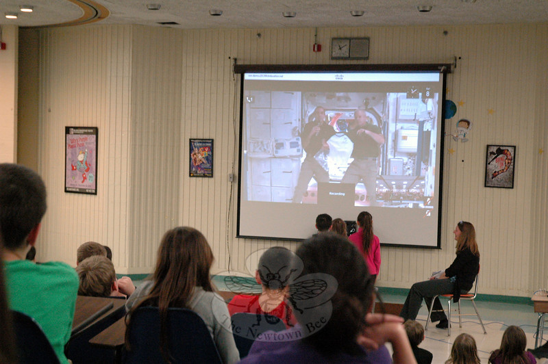 Sandy Hook School third and fourth graders looked on during a Skype video conversation with astronauts Rick Mastracchio, left on screen, and Steve Swanson. (Hallabeck photo)