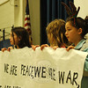 "Hawley Students Council members held banners with words from The Alternate Routes song ""Nothing More"" during the sing-along school assembly. (Hallabeck photo)"