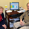 Dr Jeffrey Friedman and Cheryl Rosenthal, ARPN, check out the new computerized health assessment technology they have recently adopted at Newtown's Community Health Associates. Dr Friedman is finding his patients are paying closer attention and getting better results by using the tool to track their own cardiovascular risk, support lifestyle modifications that reduce risk, manage their elevated blood cholesterol, and to help guide them in reducing their increased body weight. (Voket photo)