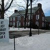 A sign in front of C. H. Booth Library announced its Saturday, March 8, reopening. (Hallabeck photo)