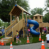 Children and their parents explored the many features of the town's new FunSpace II playground at Dickinson Park on Saturday, July 26, following playground dedication ceremonies there. (Gorosko photo)