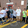 Scouts from Newtown's Troop 270 performed their volunteer community service sprucing up and painting the VNA Thrift Shop at Edmond Town Hall August 11 and 12. Among the participants are, from left, Jacob Cribbs, Ethan Shaffer, Henry Wishneski, Tyler Dickinson, Joe Lamanna, and Jake Tapanes. Adult supervisors included Mary Lombardo, Paul Wishneski and Troop Leader Jerry Capaldo. Scouts Ryan Horn and Chris Faxon also participated but are not pictured. (Voket photo)