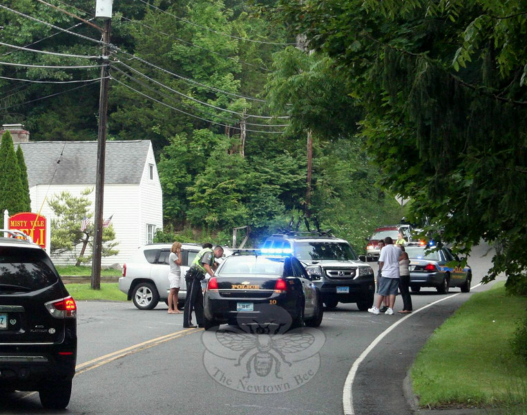 Police report that motorist Nicholas Balakier, 18, of 23 Paugussett Road, who was driving a 2009 Jeep Compass SUV, was attempting to exit the parking lot at Misty Vale Deli to make a left turn onto eastbound Berkshire Road, as motorist Lauren Samson, 47, of 4 Kelly Court was driving a 2010 Honda Pilot SUV westward on Berkshire Road at about 11:58 am on July 15. The two vehicles collided. There were no injuries. Police said they issued Balakier an infraction for failure to grant the right of way. (Hicks photo)