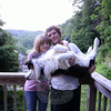 "Luise and Shawn Gleason with Sophie, their ""punk dog"" Australian shepherd, at the couple's Huntingtown Road apartment. (Bobowick photo)"