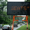 Town police this week positioned an electronic display along South Main Street near the Ram Pasture warning motorists of the health dangers posed by leaving children unattended in vehicles in the summertime. (Gorosko photo)
