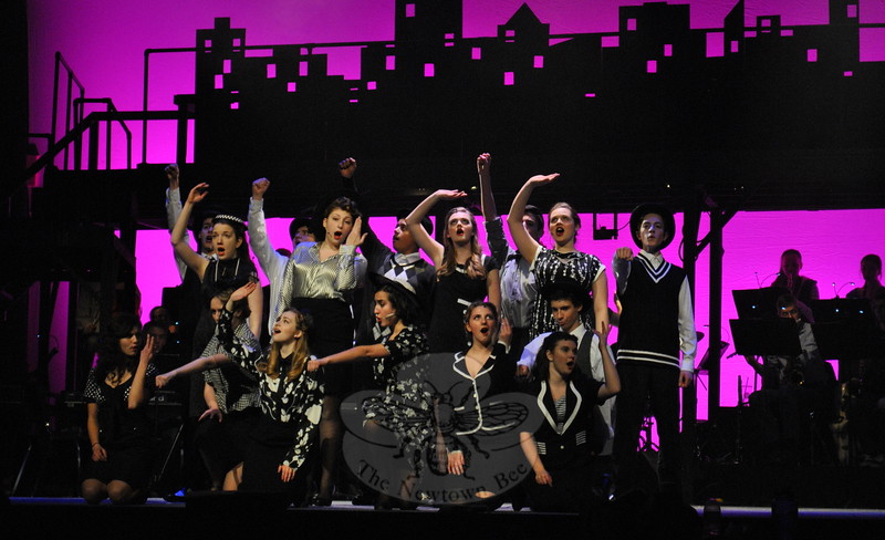 Newtown High School students rehearsed on Tuesday, March 17, for the high school's musical produc-tion of City of Angels. (Hallabeck photo)