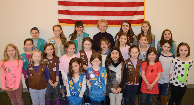 First Selectman Pat Llodra was surrounded by local Girl Scouts, Brownies, Daisies, and Cadets on March 11 as she prepared to deliver a proclamation recognizing Girl Scout Week along with the 103rd anniversary of the establishment of Girl Scouts in Connecticut and the United States. Scouts representing several local Troops turned out for the occasion, including those from Troops 50293, 51170, 50594, 50634, 50999, 50143, 50157, 50611, and 50819. (Voket photo)