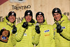 Taylor Fletcher, Billy Demong, Todd Lodwick and Bryan Fletcher win bronze in the Team HS106/4x5 Km event. FIS Nordic World Ski Championships  Val di Fiemme, Italy Photo: Sarah Brunson/U.S. Ski Team
