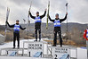 Geoffrey LaFarge, France (3rd place), Mark Schlott, Germany (1st place), Michael Duenkel, Germany (2nd place)<br /> 2011 FIS Continental Cup at Soldier Hollow (Lake Placid reschedule). <br /> Normal Hill/10k, Wednesday, Dec. 14, 2011<br /> Photo: Katie Perhai/U.S. Ski Team