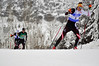 Billy Demong chases Harald Lemmerer (AUT) up a hill at a FIS Nordic Combined Continental Cup at Soldier Hollow, site of the 2002 Olympic Winter Games. (U.S. Ski Team/Riley Steinmetz)