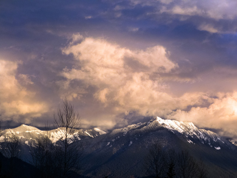 sunset clouds over snow-dusted Cascades-Exit 34 view-North Bend, WA 2-20-2013