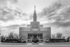 Draper Utah Temple Entrance (Black & White)