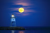"SUPERIOR SPRING 2220  ""April moonrise over the Grand Marais Lighthouse""  Grand Marais, MN"