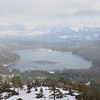 From the view point, snowing on Donner Lake.
