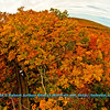 Hiker's enjoying blazing autumn foliage by Summit Creek Scenic Area Observation Tower within Porcupine Mountains Wilderness State Park (USA MI Ontonagon)