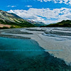 Following a Path from the Past - Following a Path from the Past - Blue skies over Phelan Creek and Rainbow Ridge along the historical Richardson Highway or Alaska Highway 4 near the Delta River Valley and Paxson (USA Alaska Paxson; Obst FAV Photos 2011 Nikon D300 Image 0502)