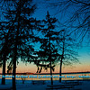 Cross country skier's New Year Day's view of picnic area framed by rosy evening light along partially frozen Lake Mendota within Governor Nelson State Park (USA WI Middleton; Obst FAV Photos 2013 Nikon D300s Image 4438)