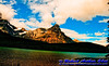 Waputik mountains across emerald Waterfowl Lakes by the Icefields Parkway (CAN Alberta Saskatchewan River Crossing)