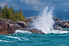 Wave Crashing into the Rugged Shoreline of Lake Superior