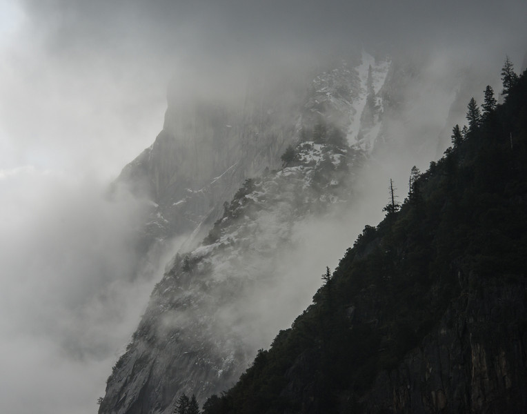 Winter cliffs and clouds in Yosemite Valley