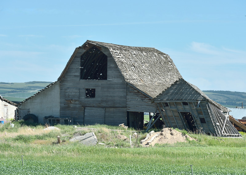 Another view of the barn outside Teton, Idaho, with its sagging adjunct.  Taken June 2013.