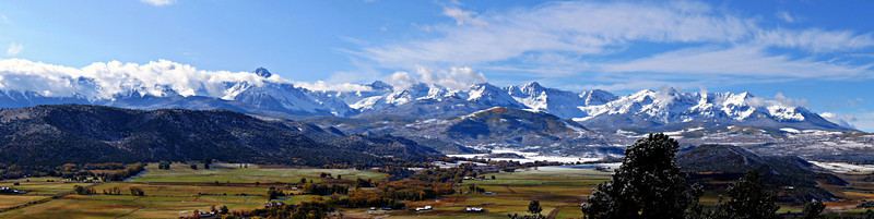 The vast RL Ranch dominates the Dallas Divide landscape beneath the Sneffels Range, Colorado San Juans.