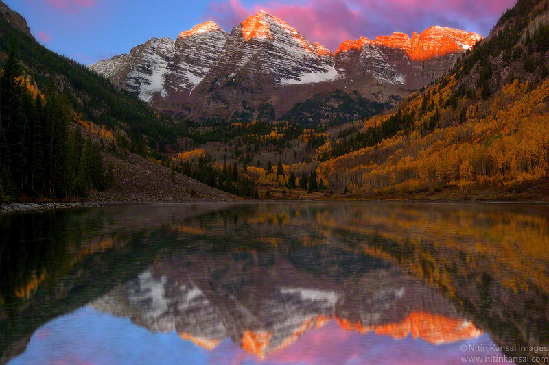 Maroon Bells Alpine Glow  This Fall i visited colorado for first time and shoot this most Photographed location. It was windy and cloudy morning but condition got better for half hour or so.. standing in front of lake with ~28F temperature for ~2 hours paid eventually...  Enjoy!!