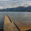 Lake Hauroko - the pier at the end of Lillburn Valley Road. The Princess Mountains are across the lake.