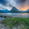 Sunset switcurrent lake, Glacier national park.