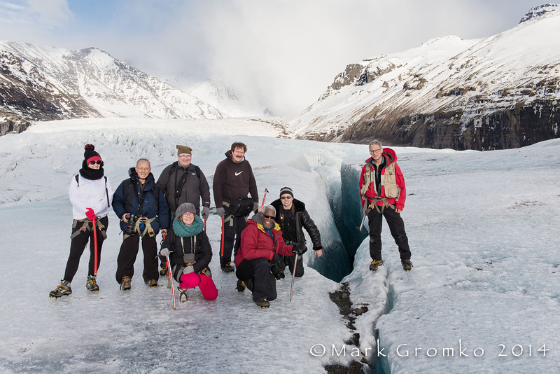 From the left: Lucy (from France, joined us for the glacier walk), Cosmas Liu, David Smith, Clare (France), Mark Rasmussen, Michael Kirkland, Dennis Krukover, the abyss, and me.