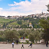 Palestinian children play football on the Temple Mount
