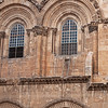 The famous immovable ladder on the Church of the Holy Sepulchre in the old city of Jerusalem, Israel.