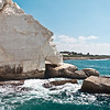 White chalk cliff at Rosh Hanikra reserve - Mediterranean sea, Israel