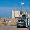 Israel-Lebanon border sign at Rosh Hanikra Grottos by the Mediterranean Sea.