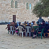 Palestinian women seat near El Acsa mosque in Jerusalem Israel