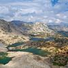 Bishop Lake, Saddlerock Lake, Ledge lake, Spearhead Lake, From Bishop Pass, John Muir wilderness