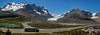 The Columbia Glacier and surrounding mountains. This is the highest point on the Icefields Parkway in Canada. Taken from the Visitor Center.