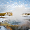 geyser basin composite Panorama; Yellowstone in Winter
