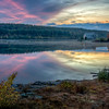 Wachusett Reservoir Sunset - Old Stone Church - West Boylston MA - Tom Sloan