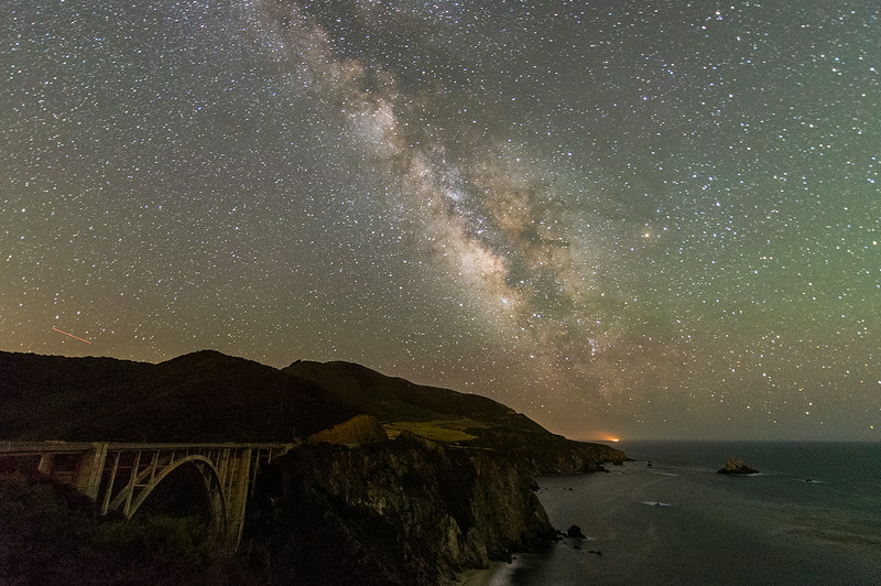 Bixby Creek Bridge, Big Sur, CA. The light above the point is a fishing boat.