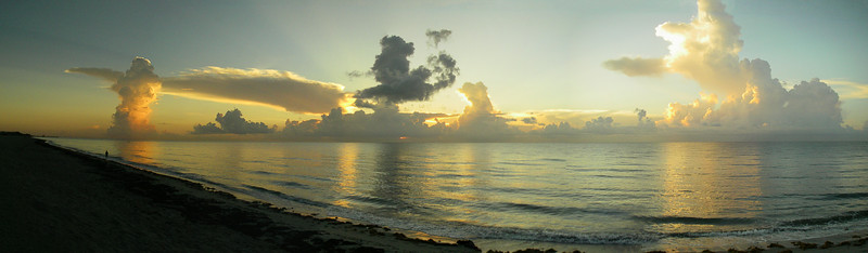 Rainy season sunrises on the Atlantic are typically much more varied and dramatic than those from October to May. This one from Ocean Ridge was shot on July 25, 2014. It is a six-shot stitch hand held on the waterproof P&S I use on dawn beach walks every morning.