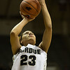 Purdue Boilermakers forward Liza Clemons (23) shoots the ball during the Purdue vs. Bowling Green college basketball game at Mackey Arena on December 22, 2013 in West Lafayette, IN